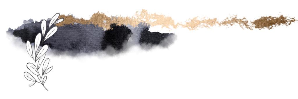 Ein blättriger Ast vor dunkelgrau-goldenem Hintergrund