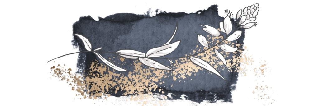 Eine geschwungene Blume auf dunkelblauem Hintergrund mit goldenem Akzent